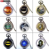 Vintage Alice Batman Quartz Pocket Watch Necklace Pendant Chain Retro Antique