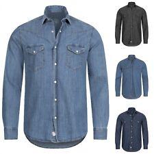 Gelverie Herren Jeanshemd Denim Hemd Kentkragen Jeans Hemden Western S-4XL M57