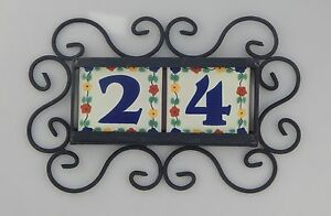 2 FLOWERS Mexican Ceramic Number Tiles & Horizontal Iron Frame