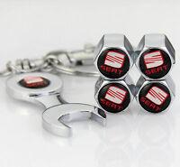 4pcs Auto Car Reifen Ventilkappen + Wrench schlüsselanhänger Keychain für NEU
