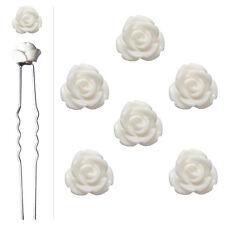 6 épingles pics cheveux chignon mariage mariée roses en resine fleurs blanches