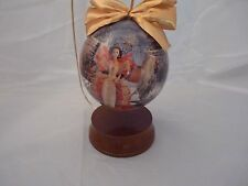 """1997 Holiday Barbie 4"""" Decoupage Ornament w/Wooden Ornament Stand IN BOX"""
