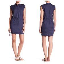 NEW Standard James Perse LINEN Drawstring Waist Shirt Dress Blue Size 4 XL