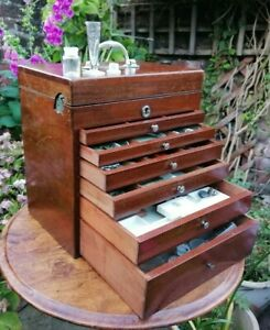 Vintage Antique Mahogany Dentists Cabinet Apothecary Drawers + Lots Of Contents.