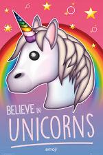 Unicorn emoji poster - BELIEVE IN UNICORNS - NEW Emoji poster GN0860