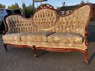 Vintage Victorian Long Sofa Couch Parlor Swoop Tufted Tapestry Carved Ornate A