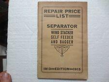 PORT HURON ENGINE CO. 1913 SEPARATOR REPAIR PRICE LIST FARMING TRADE CATALOG