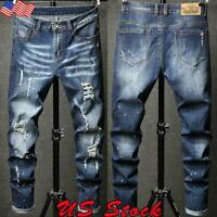 Mens Skinny Fit Jeans Stretch Denim Pants Slim Casual Jeans Distressed Rip Pants