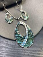 """Vintage Necklace Silvertone Signed KC Pendant Earring Set Abalone Rhinestone 16"""""""