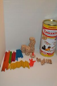 Plaskool Classic TinkerToy Jumbo Building Set in Cannister Partial Set 82pc.