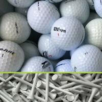 100 Marken-Mix Golfbälle im Netzbeutel AA/AAA/AAAA Lakeballs + 100 Tees 7,0 cm