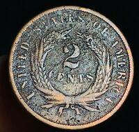 1867 US Two Cent Piece 2C High Grade Details Civil War Era US Copper Coin CC3752