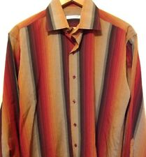 Marco Serussi Shirt, Camica Collection, Red Black Gold Taupe, Large (Euro 41-42)