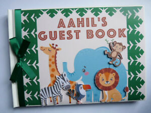 Personalised Safari Birthday Guest bookk, Jungle animals birthday guest book