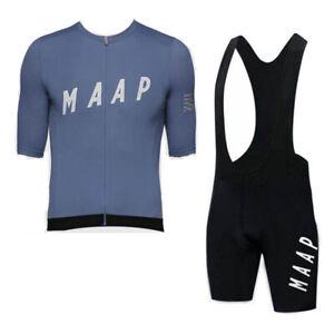 New Men Team Cycling Clothing Short Sleeve Polyester bike Jersey Bib Shorts Kit