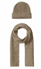 New 100% Cashmere Wool Scarf Beanie Watch Cap Knit Hat Taupe Marl $300