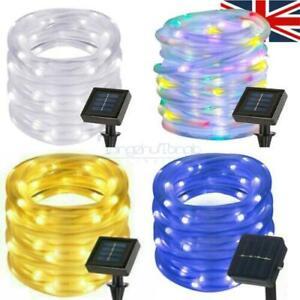 50~200 LED Solar Rope Tube String Fairy Lights Strip Waterproof Outdoor Garden
