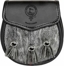 MacQuarrie Semi Sporran Fur Plain Leather Flap Scottish Clan Crest