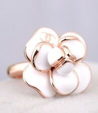 VIP Absolutely Gorgeous New Large  White GLAZE CAMELLIA / Rose Gold Plated RING