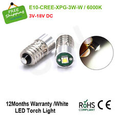 2 x CREE 3V 6V 18V Lamp LED Bulb White MES E10 1447 Screw for Torch bike bicycle