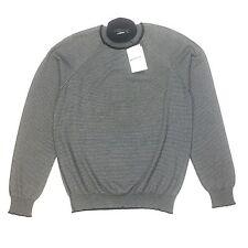 NWT $885 Balenciaga Paris Men's Black Gray Striped Roll Neck Sweater M AUTHENTIC