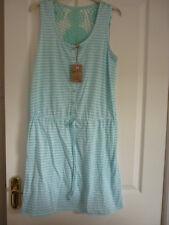 MANTARAY AQUA CROCHET YOKE STRIPED JERSEY DRESS. UK 14, EUR 42, US 10. BNWT