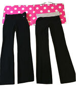 "A lot of 2 Victoria's Secret Pink Black Logo Long 33"" inseam Yoga Pants Small"