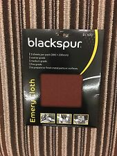 Blackspur Emery Cloth Pack 3 SHEETS FINE MEDIUM COARSE RUST METAL SAND PAPER