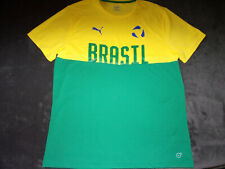 "Puma Dry Cell ""Brasil"" Country Pride Mens Yellow Green Football Soccer Jersey Xl"