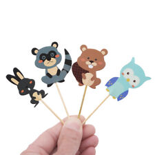 24pcs Woodland Animal Cupcake Toppers Forest Birthday Party Decorations S