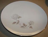 "Noritake Rosay 6216 Dinner Plate 10 1/2"" White Rose Platinum Trim"