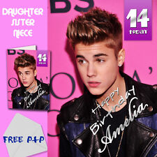 JUSTIN BIEBER - PERSONALISED Birthday Card Daughter Sister Niece