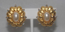 Clip Earrings - Rebecca Ray (014) Gold, Faux Pearl, Clear Crystal