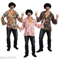 hombre adulto Flower Power AÑOS 60 AÑOS 70 1960s Hippy Disfraz Camisa