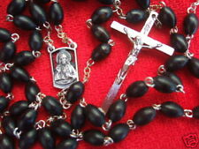 Catholic Rosary BLACK WOOD 5x7mm Beads Sacred Heart center medal