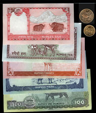 Nepal 2013 newest set 1-100 Rupees coin and note set UNC