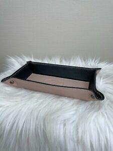 Leder Made in Italy Taschenleerer nude beige schwarz Lederschale Ablageschale