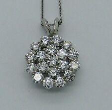 "18K AU750 White Gold 1.90 Ct Diamond Pendant w/16"" Necklace PIN01505"