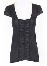 Nanette Lepore Sz S Black Rayon Viscose Polyamide Silk Trim Knitted Shirt *210