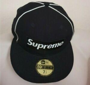 SS17 Supreme New Era 59fifty Piping box Logo navy hat cap size 7 1/2