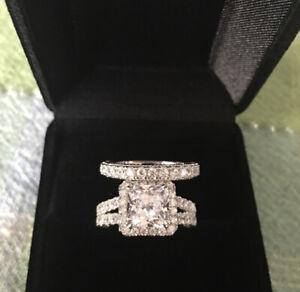 2 pcs 925 Silver Engagement Ring Wedding Band Set