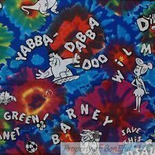 BonEful Fabric FQ Cotton Quilt Rain*bow Tie Dye Hippie Flintstones Barney Fred L