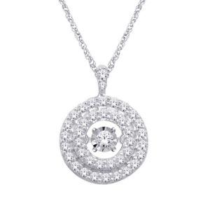 0.90ct Natural Diamond (G-H) Lined Circle Shape Pendant 14kt White Gold SI1