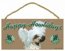 "CHINESE CRESTED--Happy Howlidays--Dog Decorative Wood Plaque/Sign 5"" x 10"""
