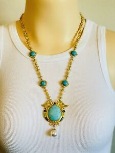 Paris Designer Macaron Signed Etruscan Revival Egyptian Real Turquoise Necklace