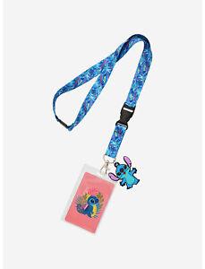 Disney Lilo & Stitch Tropical Leaves Stitch Lanyard ID Holder NEW