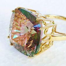 Womens 10k Solid Gold Ring Large 29ct Mystic Genuine Topaz Gemstone Sz 8 3/4