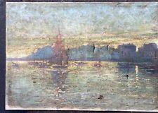 Tableau Ancien Huile Paysage Marine Impressionniste Bretagne à restaurer XIXe