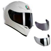 casco moto agv k1 bianco lucido + visiera specchio+ visiera fume' + trasparente