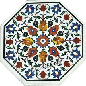 White Marble Corner Table Top Inlay with Multi Gemstones Coffee Table 18 Inches